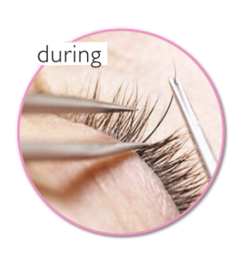 during eyelash extension